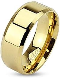 Taffstyle® Farbiger Damen Herren Edelstahl Ehe Paar Ring poliert Freundschaftsring / Gold