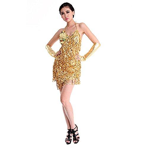 Doubleer Latein Tanzen Kleid für Frauen, Ärmellose Quaste Bling Cha Cha Salsa Rumba Sexy Tanzkleidung Mini Clubwear