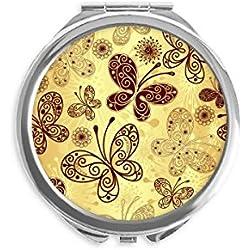 DIYthinker fond d'écran papillon jaune miroir rond maquillage de poche à la main portable 2,6 pouces x 2,4 pouces x 0,3 pouce Multicolore