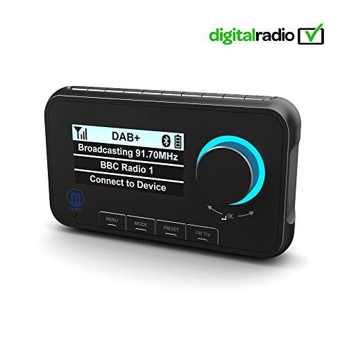 Majority Journey A10 - DAB/DAB+ Auto Digital-Radio Adapter Transmitter - Bluetooth Freisprecheinrichtung & Musik-Streaming - DAB Auto-Radio Empfänger mit integriertem FM Transmitter - mit Zubehör
