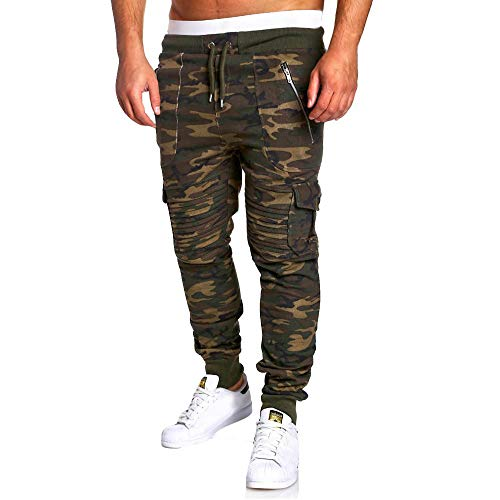 Sannysis Herren Hose Cargo Chino Jeans Kordelzug Klassische Camo Jogginghose Trainingshose Herren Sweat Pants M~3XL