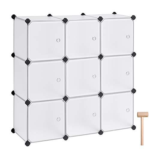 SONGMICS Armario Modular con 9 Cubos, Montaje en Bricolaje, Armario de Almacenamiento de plástico, con Puertas, Estable, Instalación Sencilla LPC116WS