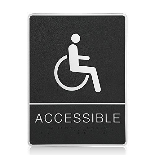 """mengliangpu8190 Tin Sign Handicap Accessible ADA Compliant Restroom (Bathroom) Braille Sign Large 6""""X9"""" with Double Sided 3M Tape"""