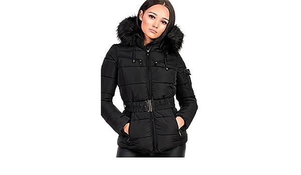 f215c264df6c1 Ikrush Womens Hadid Padded Faux Fur Hooded Jacket Black  Amazon.co.uk   Clothing