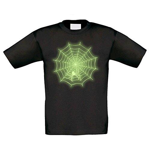 T-Shirt Kinder Halloween -- Spinne im Netz, schwarz-glow, 98-104