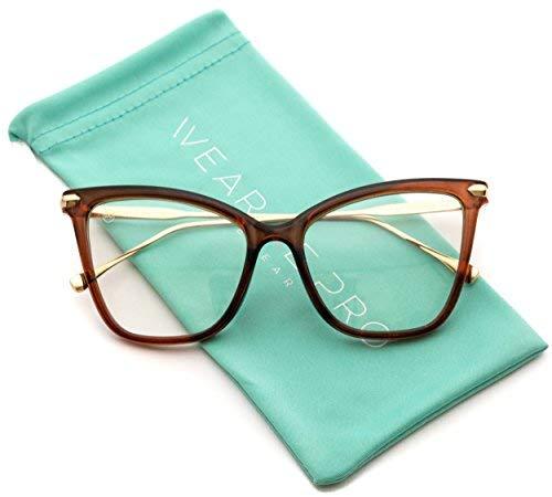 WearMe Pro - Neue nicht verschreibungspflichtige elegante Cat-Eye-Sonnenbrille mit klaren Brillengläsern