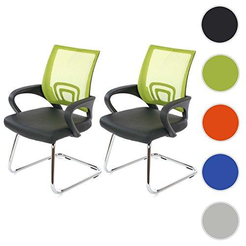 2x Konferenzstuhl Ancona, Besucherstuhl, Kunstleder ~ grün