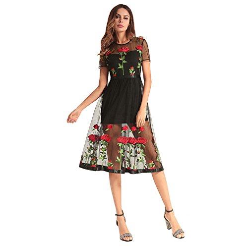 YAN Frauen A-Linie Kleider Netto Garn Perspektive Rose Stickerei Lady Kleid Cocktail Party Hochzeit Abendempfang täglich tragen (Größe : S) (Netto-weste)