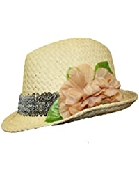 Unisex Adult Foldable Straw Style Trilby Flower Detail Summer Sun Fashion hat