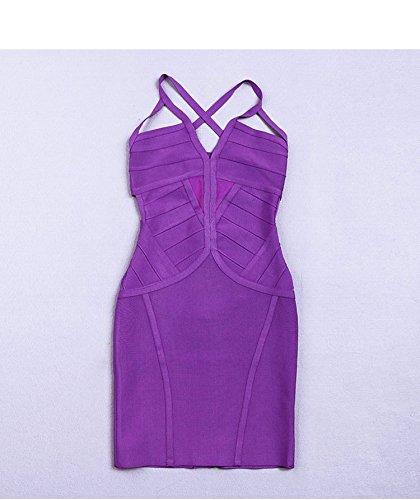HLBandage Spaghetti Strap V Neck Cut Out Mini Bodycon Bandage Dress Rosso