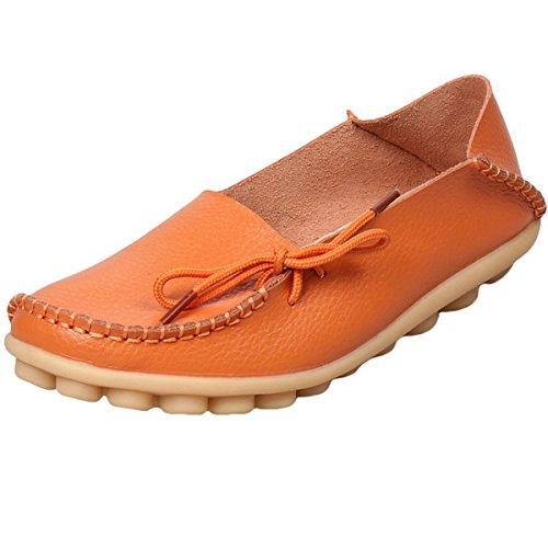 Hishoes Mocassin Femme Cuir Souple Loafers Casual Plat Bateau Chaussures Confort Sandales Orange