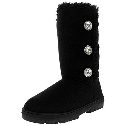 Holly Damen Dreiergruppe Diamond Taste Hohes Fell Wasserdicht Winter Regen Schnee Stiefel - Schwarz Diamant - UK8/EU41 - AEA0512 (Fell-taste)