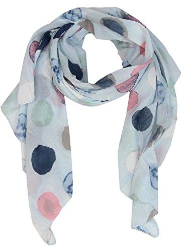 Seiden-Tuch für Damen mit Punkt-Print von Zwillingsherz / Elegantes Accessoire für Frauen auch als Schal / Seiden-Schal / Halstuch / Schulter-Tuch oder Umschlagstuch einsetzbar (hellblau) (Halstuch Damen)