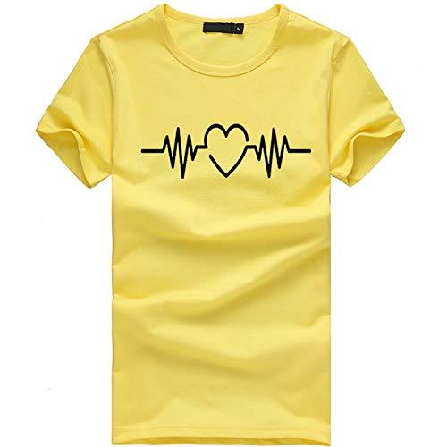 iHENGH Damen Top Bluse Lässig Mode T-Shirt Frühling Sommer Bequem Blusen Frauen Mädchen Plus Size Print Tees Shirt Kurzarm T-Shirt Bluse Tops(Gelb, 3XL) - Shorts Womens Plus Swim