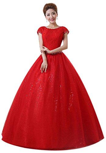 Eyekepper Hochzeitskleid, mit Ärmeln, bodenlang, maßgeschneidert Gr. 34, rot