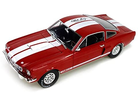 1966 Ford Shelby Mustang GT350 Red with White Stripes With Printed Carroll Shelby Signature On The Roof 1/18 by Shelby Collectibles SC154-1 by Shelby Collect