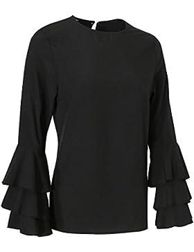Gazechimp Camiseta Mangas Larga Estilo Camisa Ocasional Señoras Accesorios Moda Chica