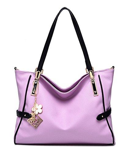 Keshi Pu neuer Stil Damen Handtaschen, Hobo-Bags, Schultertaschen, Beutel, Beuteltaschen, Trend-Bags, Velours, Veloursleder, Wildleder, Tasche Lila
