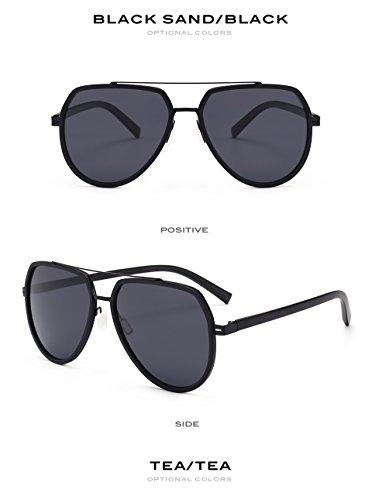Pynxn TR90 polarisierte Sonnenbrille M?nner Mercury Beschichtung Flexible Flieger-Sonnenbrillen Fahren Flat Top Male Brillen New [Matte Black]