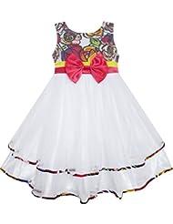 Sunny Fashion - Vestido con estampado floral para niña blanco
