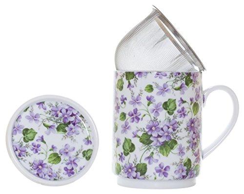 La Cija Violetas - Tazza per tisane in porcellana, con filtro in acciaio inox, bianco