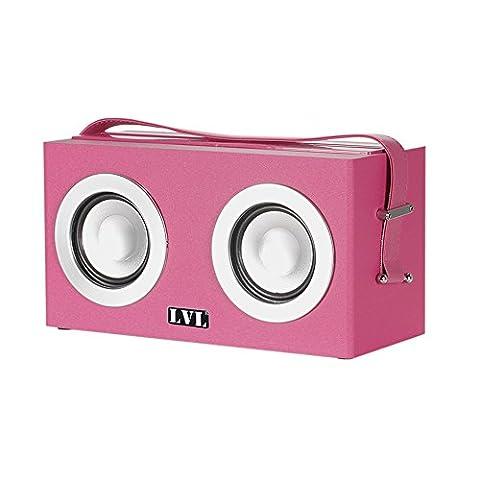 Enceinte Bluetooth 6W, Haut-Parleurs Portables Bluetooth Sans Fil, Dual Drive, Super Sound Et Ceinture En Cuir Avec Support D'affichage Pour Mini-tablette / Téléphone Cellulaire, Rose
