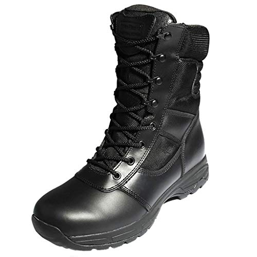 GOAIJFEN Unisex Military Combat Boot Outdoor leichte Berg Training Wanderschuhe Camping Jungle Patrol Taktische Sicherheit Boot Side Zip Sicherheit Arbeitsstiefel,Black-46 Side Zip Steel Toe Boots