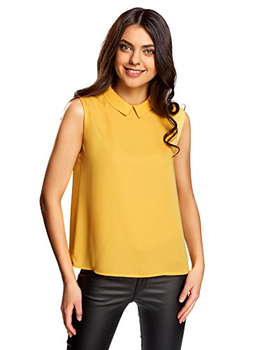 oodji Ultra Damen Ärmellose Bluse Basic mit Kragen, Orange, DE 36 / EU 38 / S