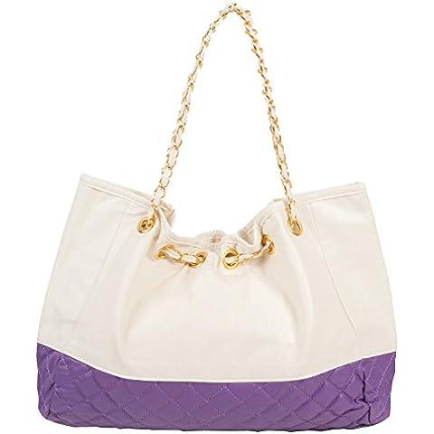 Crema bolsa acolchada de hombro con acolchado Panel en color de contraste y oro enlace Cadena