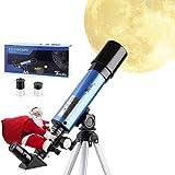 TELMU Télescope Astronomique - F36050M Télescope Enfants avec Oculaires H6 mm et H20 mm, Réfractant Ultra-Transparent, Portable Trépied, Cadeau pour Enfants pour Observer de la Lune et Les Étoiles