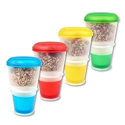 Schramm® 4er Pack Joghurtbecher to go Müsli-to-Go Müslibecher mit integriertem Kühlfach und Löffel Müslischale Joghurt Becher Müslibehälter Joghurtbehälter für unterwegs