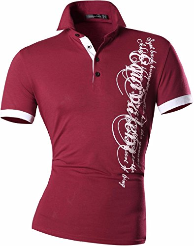 jeansian Herren Freizeit Slim Fit Short Sleeves Casual POLO T-Shirts D403 D403_WineRed