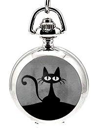 bfaf102c29d7 Reloj de bolsillo vintage negro con diseño de gato pequeño