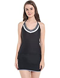 Nidhi Munim Women's Sexy Black Monochrome Crochet 3 Piece Tankini SetSwimsuit