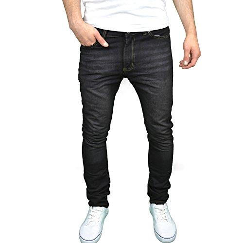 Soulstar Mens Designer Slim Fit Jeans (30W x 32L, Black)