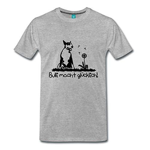 Spreadshirt Bullterrier Machen Glücklich Bulli Männer Premium T-Shirt, 3XL, Grau meliert