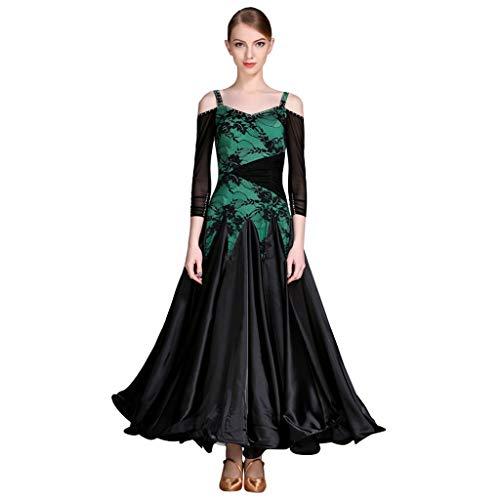 LRR V-Ausschnitt Sling Standard Ballroom Dance Praxis Kleider Performance Tanz Kostüme, Frauen Tango Waltz Kleider Modern Dance Dress (Farbe : Grün, größe : - Waltz Dance Kostüm