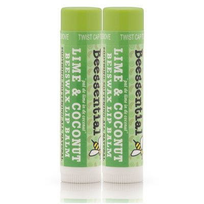 Beessential All Natural Coconut Lime Lip Balm - 2 Pack - Heals and Prevents Dry and Chapped Lips -- Great for Men, Women, and Children - Moisturizing Beeswax, Coconut, Shea and Cupuacu Butter by Beessential