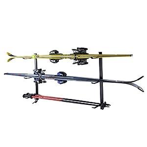 4U® Skihalter Skiträger Skistöcke Ski Aufbewahrung Wandhalter Halter für 3 Paar Gerätehalter Wandmontage