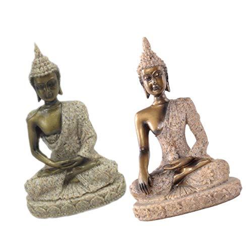 F Fityle 2 pcs Modelo de Piedra Arenisca Buda Colecciones
