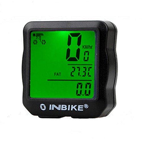 QHJ Fahrradcomputer | Kabelgebundener Fahrradtacho/Radcomputer/Tachometer Temperaturanzeige in °C |inkl. Befestigungsmaterial | Hintergrundbeleuchtung | Wasserdichter IP65 (Grün)