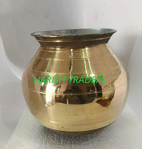 HARISH-Traditional-Handcrafted-Pure-Brass-Vessel-Inner-Lined-with-TINEIIYAM-TAMILNADU-Special-PONGAL-PAANAI-Medium-Size-Capacity-2-LitreStrong-Weight-095-to-1-KG
