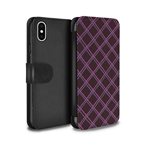 Stuff4 Coque/Etui/Housse Cuir PU Case/Cover pour Apple iPhone X/10 / Bleu/Violet Design / Motif Entrecroisé Collection Violet/Noir