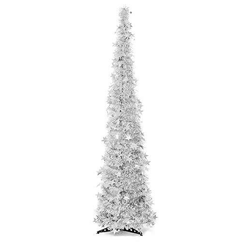 Langde albero di natale artificiale 150 cm con supporto, alberi natale artificiali pino, stella finto decorato, materiale pvc, decorazioni naturale per christmas - argento