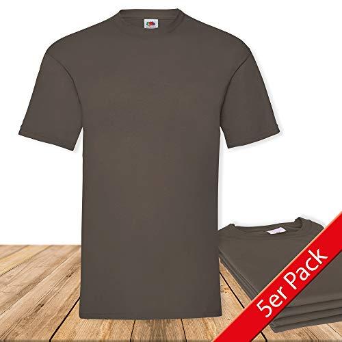 Fruit of the Loom Original  T Rundhals T-Shirt F140 5er Pack- Gr. XL, Chocolate