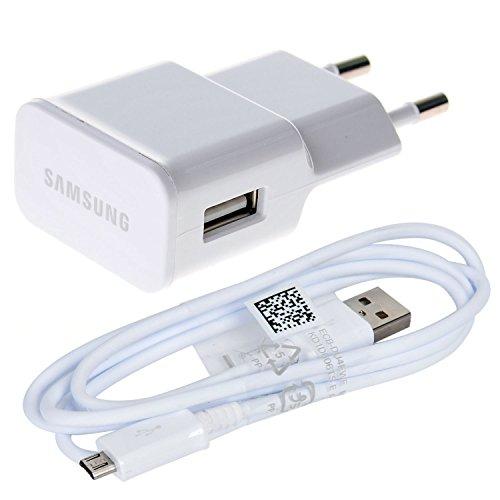 Original Samsung 2in1 Ladeset 220V USB Ladegerät Netzadapter Netzteil 2A / 2000mA - ETA-U90EWE - - Weiss + Micro USB Daten Kabel Ladekabel - Weiss - für Samsung Galaxy A5 (2016) (50 Mp3-player Samsung)