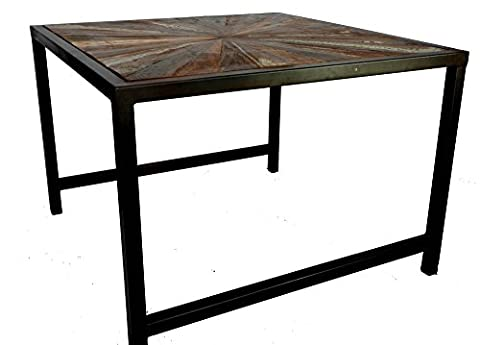 Old Painted Teak Coffee Side Table With Antiqued Metal Frame 60Cm