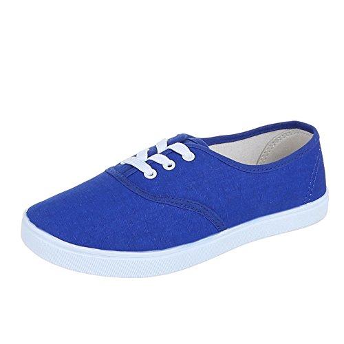 Ital-Design Damen Schuhe Freizeitschuhe Schnürer Sneakers Low Top Blau