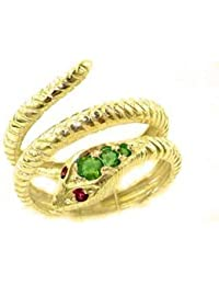 51e5c4db3f6265 Fabulous Solid Yellow 9ct Gold Natural Emerald & Ruby Detailed Snake Ring