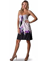 Angela - Damen Bandeau Sommerkleid - Blumenmuster - EU 36-38, Violett